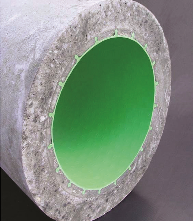 Reinforced concrete pipe with a line